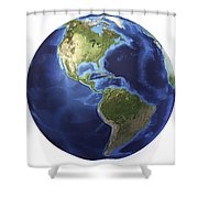 3d Rendering Of Planet Earth, Centered Shower Curtain by Leonello Calvetti