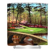 12th Hole At Augusta  Shower Curtain by Tim Gilliland