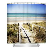 Beach Shower Curtain by Les Cunliffe