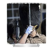 1st Battalion Welsh Guards On The Drill Shower Curtain by Andrew Chittock