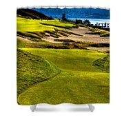 #16 At Chambers Bay Golf Course - Location Of The 2015 U.s. Open Tournament Shower Curtain by David Patterson