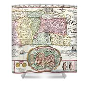 1632 Tirinus Map Of The Holy Land Shower Curtain by Paul Fearn