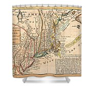 1729 Moll Map Of New York New England And Pennsylvania  Shower Curtain by Paul Fearn