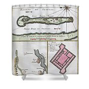 1750 Bellin Map Of The Senegal Shower Curtain by Paul Fearn
