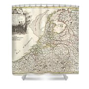 1775 Janvier Map Of Holland And Belgium Shower Curtain by Paul Fearn