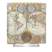 1794 Samuel Dunn Wall Map Of The World In Hemispheres Shower Curtain by Paul Fearn