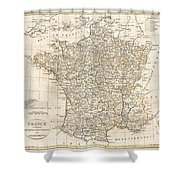 1799 Clement Cruttwell Map Of France In Departments Shower Curtain by Paul Fearn