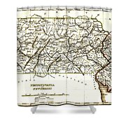 1835 Pennsylvania and New Jersey Map Shower Curtain by Bradford
