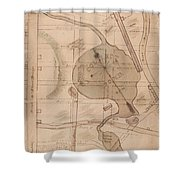 1840 Manuscript Map Of The Collect Pond And Five Points New York City Shower Curtain by Paul Fearn