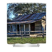 1860 Log Cabins Shower Curtain by Linda Phelps