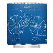 1869 Velocipede Bicycle Patent Blueprint Shower Curtain by Nikki Marie Smith