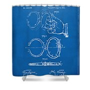 1891 Police Nippers Handcuffs Patent Artwork - Blueprint Shower Curtain by Nikki Marie Smith