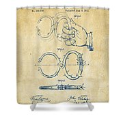 1891 Police Nippers Handcuffs Patent Artwork - Vintage Shower Curtain by Nikki Marie Smith