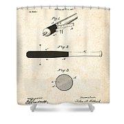1902 Baseball Bat Patent Shower Curtain by Digital Reproductions
