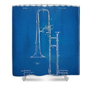 1902 Slide Trombone Patent Blueprint Shower Curtain by Nikki Marie Smith