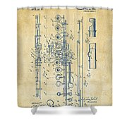 1908 Flute Patent - Vintage Shower Curtain by Nikki Marie Smith