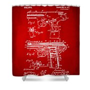 1911 Automatic Firearm Patent Artwork - Red Shower Curtain by Nikki Marie Smith