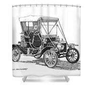 1911 Ford Model T Tin Lizzie Shower Curtain by Jack Pumphrey