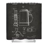 1914 Beer Stein Patent Artwork - Gray Shower Curtain by Nikki Marie Smith