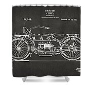 1919 Motorcycle Patent Artwork - Gray Shower Curtain by Nikki Marie Smith