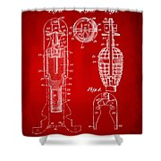 1921 Explosive Missle Patent Minimal Red Shower Curtain by Nikki Marie Smith