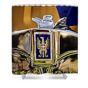 1929 Bianchi S8 Graber Cabriolet Hood Ornament And Emblem Shower Curtain by Jill Reger
