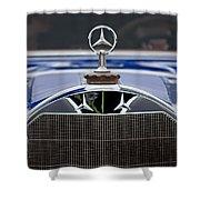 1929 Mercedes Benz S Erdmann And Rossi Cabiolet Hood Ornament Shower Curtain by Jill Reger