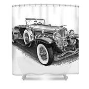 1930 Duesenberg Model J Shower Curtain by Jack Pumphrey