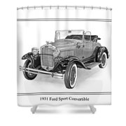 1931 Ford Convertible Shower Curtain by Jack Pumphrey