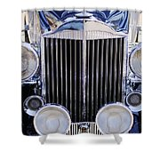 1933 Packard 12 Convertible Coupe Grille Shower Curtain by Jill Reger