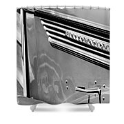 1937 International D-2 Station Wagon Side Emblem Shower Curtain by Jill Reger