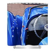 1937 Peugeot 402 Darl'mat Legere Speacial Sport Roadster Recreation Steering Wheel Emblem Shower Curtain by Jill Reger