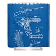 1937 Police Remington Model 8 Magazine Patent Artwork - Blueprin Shower Curtain by Nikki Marie Smith