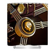 1939 Ford Standard Woody Steering Wheel Shower Curtain by Jill Reger