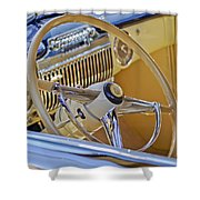 1947 Cadillac 62 Steering Wheel Shower Curtain by Jill Reger