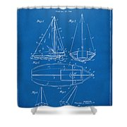 1948 Sailboat Patent Artwork - Blueprint Shower Curtain by Nikki Marie Smith
