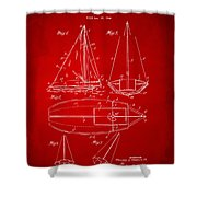 1948 Sailboat Patent Artwork - Red Shower Curtain by Nikki Marie Smith