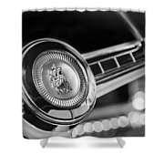 1949 Plymouth P-18 Special Deluxe Convertible Steering Wheel Emblem Shower Curtain by Jill Reger
