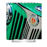 1949 Willys Jeep Station Wagon Grille Emblem Shower Curtain by Jill Reger