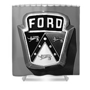 1950 Ford Custom Deluxe Station Wagon Emblem Shower Curtain by Jill Reger