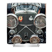 1950 Jaguar Xk120 Roadster Grille Shower Curtain by Jill Reger