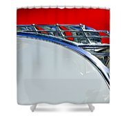 1950 Plymouth Hood Ornament 3 Shower Curtain by Jill Reger