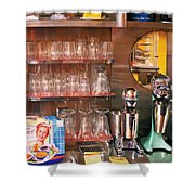 1950's - Diner - A 1950's Diner Shower Curtain by Mike Savad