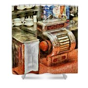 1950's - The Greasy Spoon Shower Curtain by Mike Savad