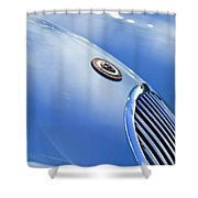 1951 Jaguar Grille Emblem Shower Curtain by Jill Reger