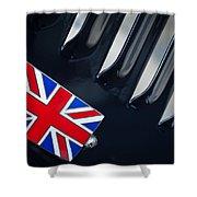 1951 Jaguar Proteus C-type British Emblem Shower Curtain by Jill Reger