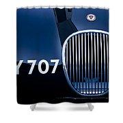 1951 Jaguar Proteus C-type Grille Emblem 3 Shower Curtain by Jill Reger