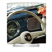 1952 Volkswagen Vw Bug Steering Wheel Shower Curtain by Jill Reger