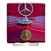 1953 Mercedes Benz Hood Ornament Shower Curtain by Jill Reger