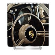 1954 Porsche 356 Bent-Window Coupe Steering Wheel Emblem Shower Curtain by Jill Reger